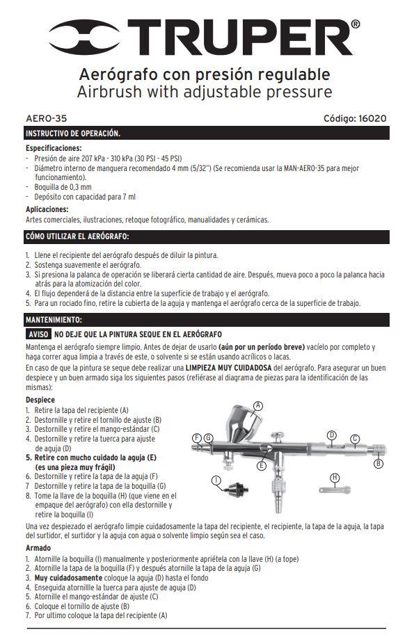 aerografo truper manual